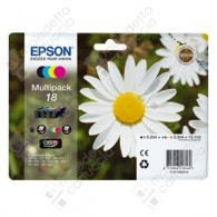 Cartuccia Originale EPSON 18,T1806 - C13T18064010 - C/M/Y/BK - Margherita Multi Pack - 5.2ml + 3 x 3.3ml