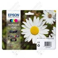 Cartuccia Originale EPSON 18XL,T1816 - C13T18164010 - C/M/Y/BK - Margherita Multi Pack - 11.5ml + 3 x 6.6ml