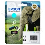 Cartuccia Originale EPSON 24,T2422 - C13T24224010 - Ciano - Elefante - 4.6ml