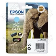 Cartuccia Originale EPSON 24XL,T2435 - C13T24354010 - Ciano Light - Elefante - 9.8ml