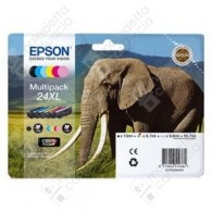 Cartuccia Originale EPSON 24XL,T2438 - C13T24384010 - C/CL/M/ML/Y/BK - Elefante Multi Pack - 10ml + 3 x 8.7ml + 2 x 9.8ml