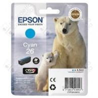 Cartuccia Originale EPSON 26,T2612 - C13T26124010 - Ciano - Orso Polare - 4.5ml