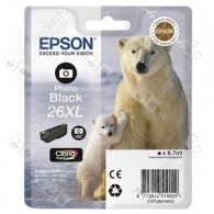 Cartuccia Originale EPSON 26XL,T2631 - C13T26314010 - Nero Photo - Orso Polare - 8.7ml