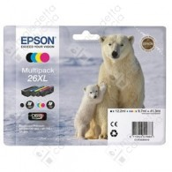 Cartuccia Originale EPSON 26XL,T2636 - C13T26364010 - C/M/Y/BK - Orso Polare Multi Pack - 12.2ml + 3 x 9.7ml
