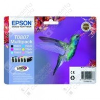 Cartuccia Originale EPSON T0807 - C13T08074011 - C/CL/M/ML/Y/BK - Colibrì Multi Pack - 6 x 7.4ml