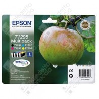 Cartuccia Originale EPSON T1295 - C13T12954010 - C/M/Y/BK - Mela Multi Pack - 11.2ml + 3 x 7ml