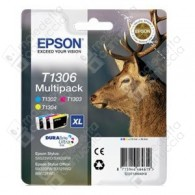Cartuccia Originale EPSON T1306 - C13T13064010 - Colori - Cervo Multi Pack - 3 x 10.1ml